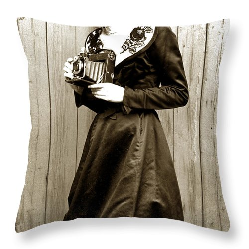Vintage Throw Pillow featuring the photograph Kodak Girl With A Folding Camera Circa 1918 by California Views Archives Mr Pat Hathaway Archives