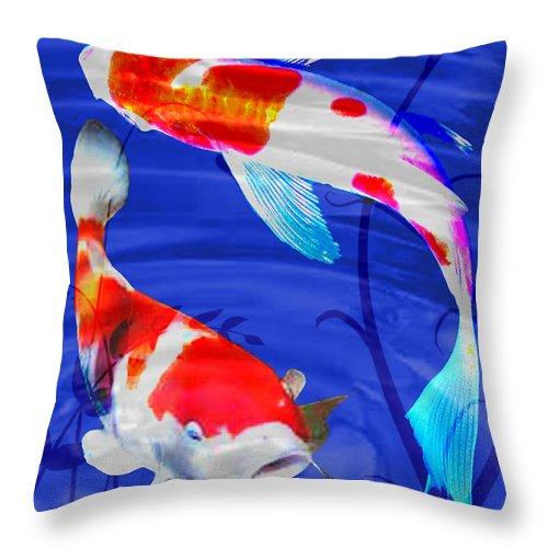 Koi Throw Pillow featuring the painting Kohaku Koi In Deep Blue Pool by Elaine Plesser