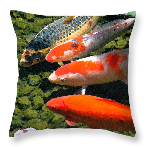Fish Throw Pillow featuring the photograph Koi 10 by Pamela Cooper