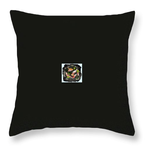 Fiber Throw Pillow featuring the tapestry - textile Koi Fest by Jenny Williams