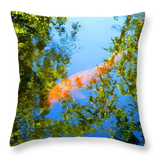 Animal Throw Pillow featuring the painting Koi Fish 3 by Amy Vangsgard