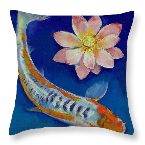 Lotus Throw Pillow featuring the painting Koi Fish And Lotus by Michael Creese