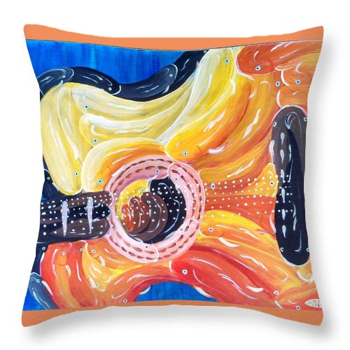 Guitar Throw Pillow featuring the painting Koi Guitar by Deda Happel