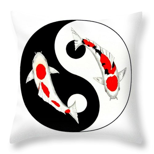 Tattoo Throw Pillow featuring the painting Koi Kohaku And Taisho Sanke Yin Yang Painting by Gordon Lavender