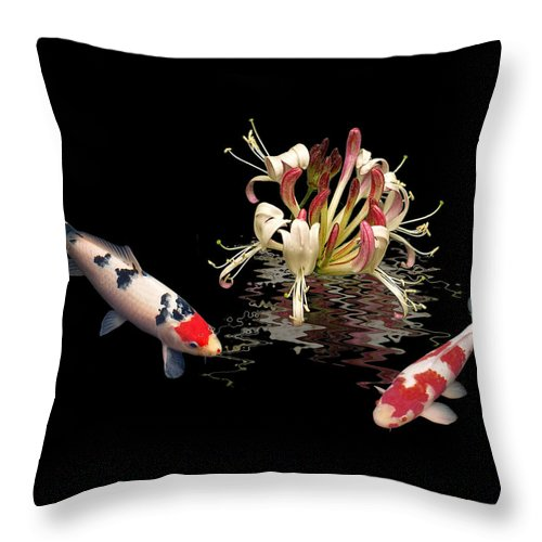 Fish Throw Pillow featuring the photograph Koi With Honeysuckle Reflections by Gill Billington
