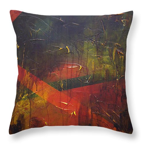Abstract Throw Pillow featuring the painting Komposition z by Sergey Bezhinets