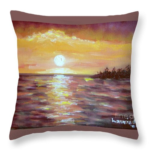 Sunset Throw Pillow featuring the painting Kona Sunset by Laurie Morgan