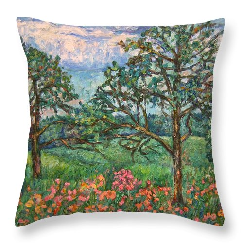 Landscape Throw Pillow featuring the painting Kraft Avenue In Blacksburg by Kendall Kessler