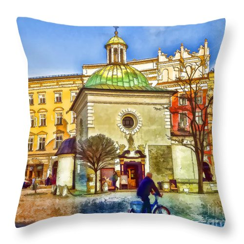 Cracow Throw Pillow featuring the digital art Krakow Main Square Old Town by Justyna JBJart
