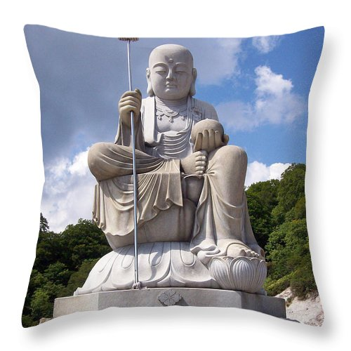 Ksitigarbha Throw Pillow featuring the photograph Ksitigarbha by Cheryl McClure