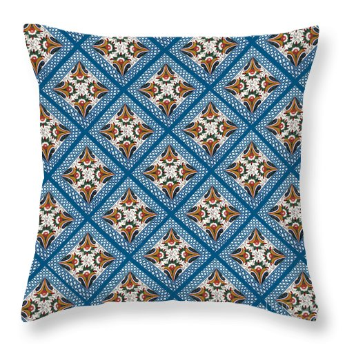 Dala Throw Pillow featuring the painting Kurbits Squares by Leif Sodergren