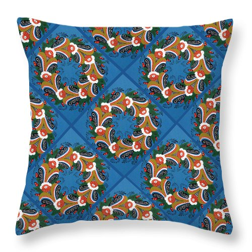 Dala Throw Pillow featuring the painting Kurbits Wreaths Blue by Leif Sodergren
