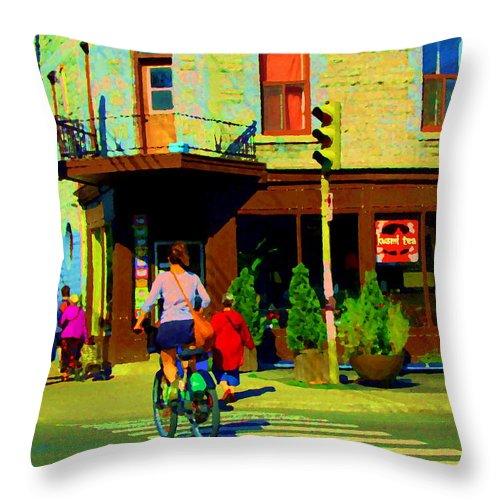 Urban Scenes Throw Pillow featuring the painting Kusmi Tea And Sandwich Shop St Viateur Corner St Urbain Montreal Summer City Scene Carole Spandau by Carole Spandau