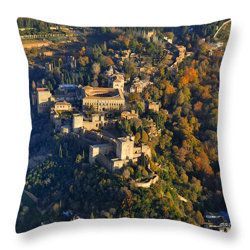 The Alhambra Throw Pillow featuring the photograph La Alhambra by Guido Montanes Castillo