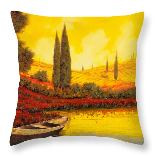 Sky Yellow Throw Pillow featuring the painting La Barca Al Tramonto by Guido Borelli