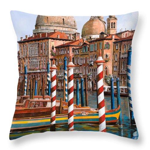 Venice Throw Pillow featuring the painting La Chiesa Della Salute Sul Canal Grande by Guido Borelli