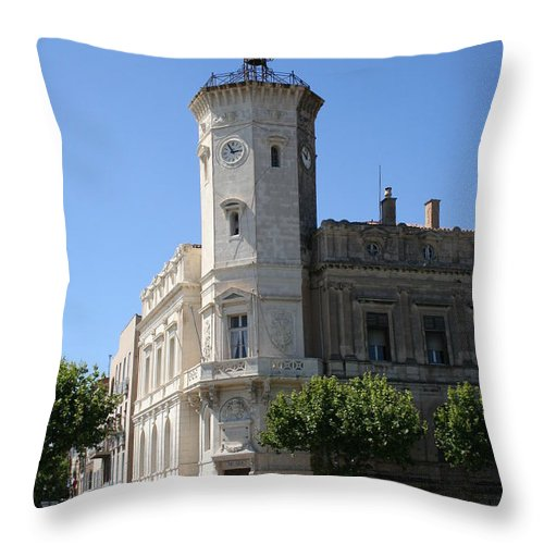 City Hall Throw Pillow featuring the photograph La Ciotat Provence- Alpes- Cote D'azur by Christiane Schulze Art And Photography