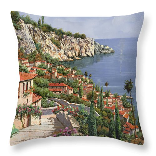 Seascape Throw Pillow featuring the painting La Costa by Guido Borelli