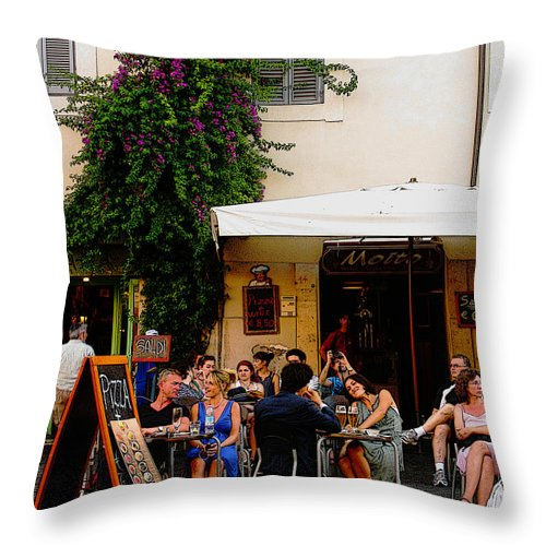 Cafe Throw Pillow featuring the digital art La Dolce Vita At A Cafe In Italy by Greg Matchick
