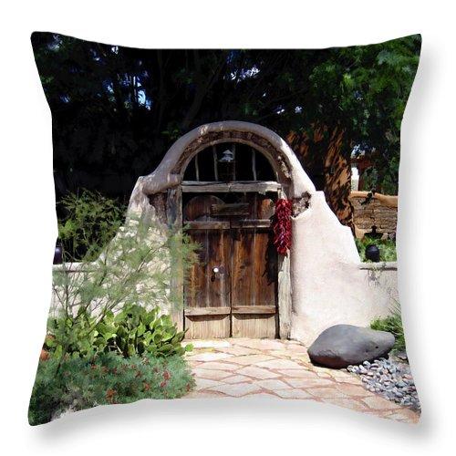 Doors Throw Pillow featuring the photograph La Entrada A La Casa Vieja De Mesilla by Kurt Van Wagner