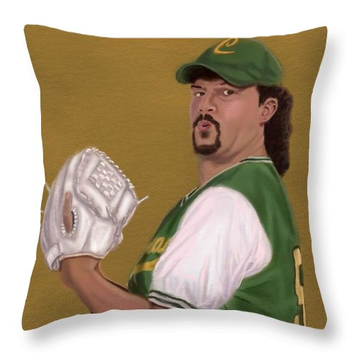 Kenny Powers Throw Pillow featuring the digital art La Flama Blanca by Jeremy Nash