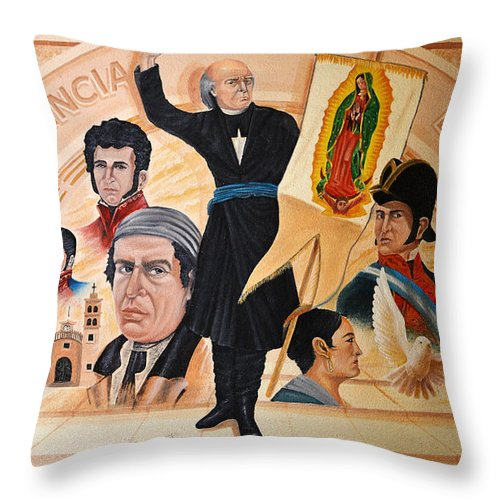 Mural Throw Pillow featuring the photograph La Independencia De Mexico by Christine Till
