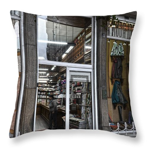 Moda Throw Pillow featuring the photograph La Moda Ideal Fabrics Store by RicardMN Photography