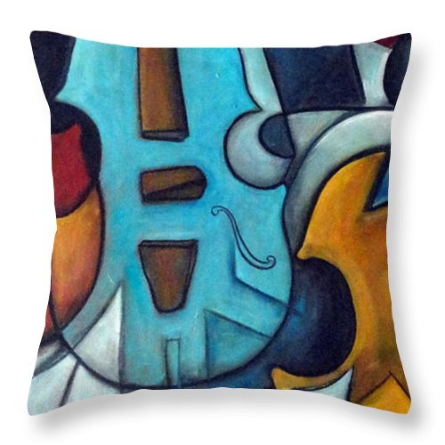 Music Throw Pillow featuring the painting La Musique 2 by Valerie Vescovi