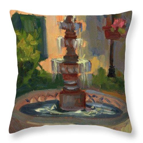 La Quinta Resort Fountain Throw Pillow featuring the painting La Quinta Resort Fountain by Diane McClary