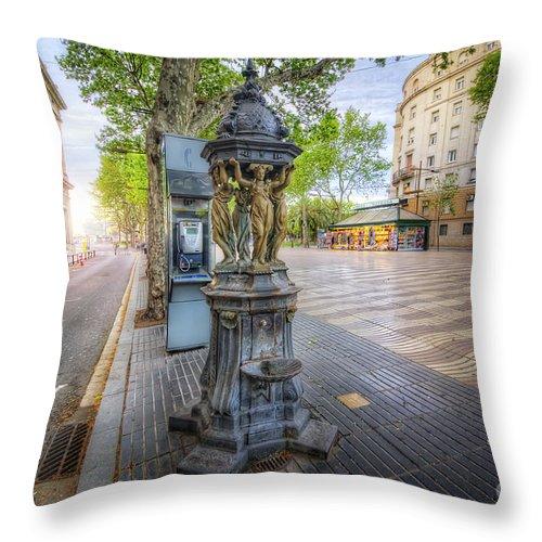 Yhun Suarez Throw Pillow featuring the photograph La Rambla Fountain by Yhun Suarez
