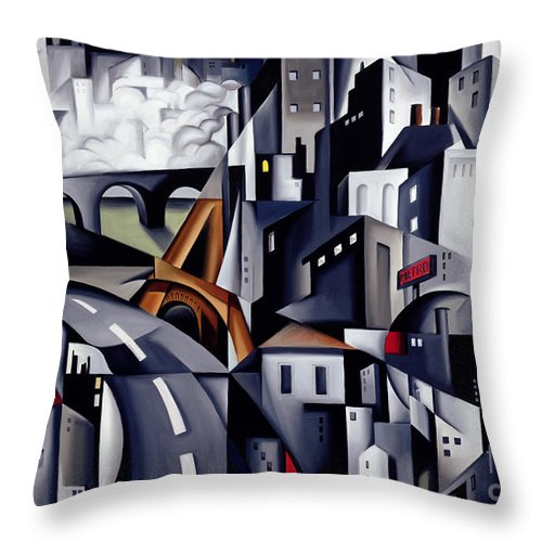Rive Throw Pillow featuring the painting La Rive Gauche by Catherine Abel