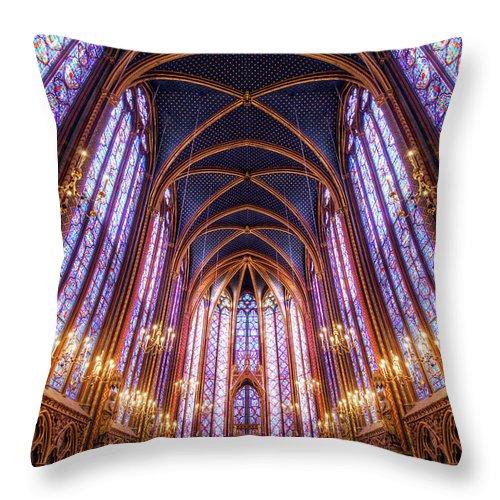 Arch Throw Pillow featuring the photograph La Sainte-chapelle Upper Chapel, Paris by Joe Daniel Price