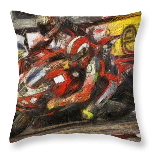 Sic Throw Pillow featuring the painting La Staccata by Tano V-Dodici ArtAutomobile