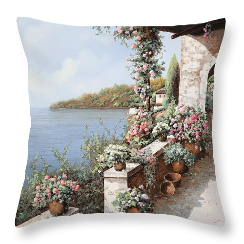 Coastal Throw Pillow featuring the painting La Terrazza by Guido Borelli