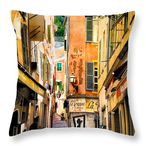 La Trappa Bar Throw Pillow featuring the photograph La Trappa.nice.france by Jennie Breeze