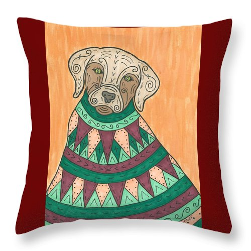Labrador Throw Pillow featuring the painting Lab Coat by Susie Weber