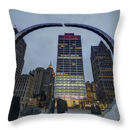 Detroit Art Throw Pillow featuring the photograph Labor Legacy Landmark  Hart Park  Detroit by Kevin Whitworth