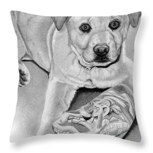 Dogs Throw Pillow featuring the drawing Sneaker Snatcher- Labrador And Chow Chowx Mix by Sarah Batalka