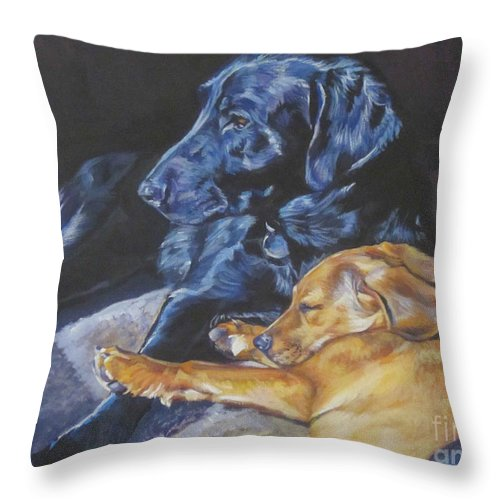 Labrador Retriever Throw Pillow featuring the painting Labrador Love by Lee Ann Shepard
