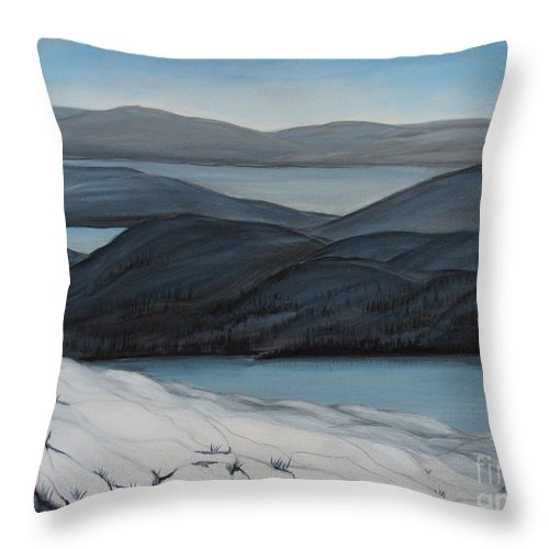 Winter Canvas Prints Throw Pillow featuring the painting Labrador The Big Land by Beverly Livingstone