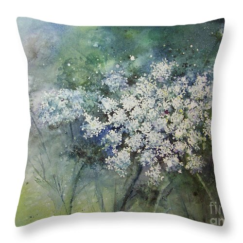 Queen Anne Throw Pillow featuring the painting Lace by Patricia Henderson