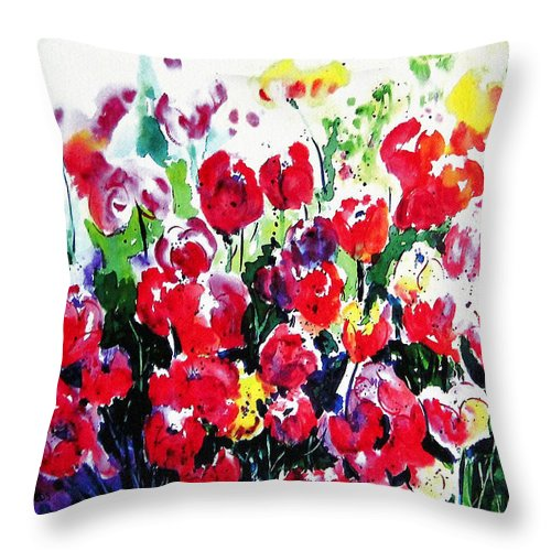 Tulips Throw Pillow featuring the painting Laconner Tulips by Marti Green