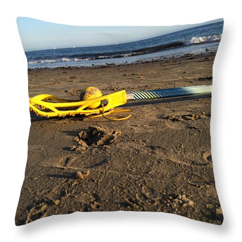 Lacrosse Throw Pillow featuring the photograph Lacrosse Womens Stick On The Beach by YouGotThat Lacrosse