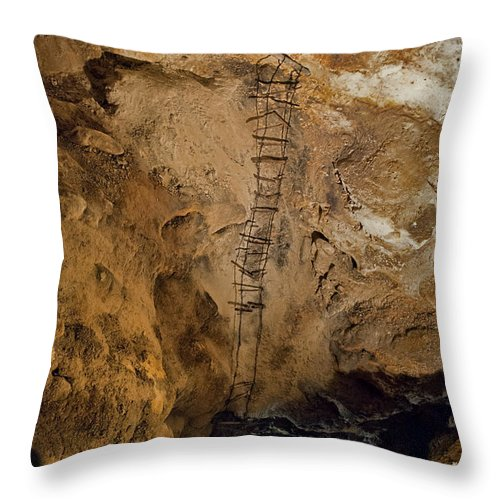 Spelunking Throw Pillow featuring the photograph Ladder To The Center Of The Earth by David Arment