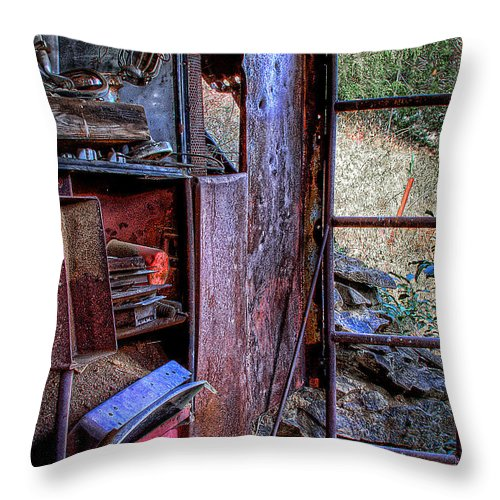 Junk Castle Throw Pillow featuring the photograph Ladder To The Upstairs by David Patterson