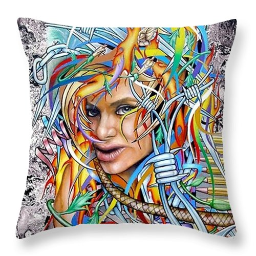 Portrait Throw Pillow featuring the painting Lady Apocalypse by John Kuhenbeaker
