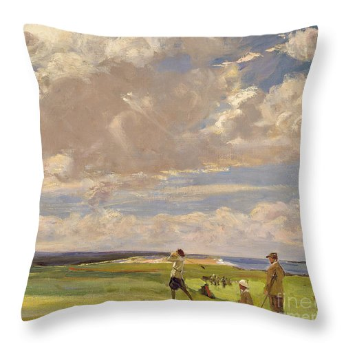 American; Golfing; Links; Golfer; Course; Scottish; Landscape; Clouds; Glasgow Boys; Drive Throw Pillow featuring the painting Lady Astor Playing Golf At North Berwick by Sir John Lavery