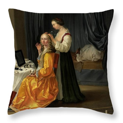 Lady Throw Pillow featuring the painting Lady At Her Toilet by Netherlandish School