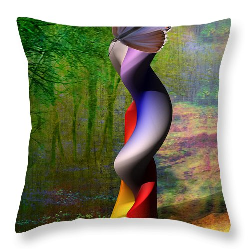 3d Throw Pillow featuring the painting Lady At The Pond With Butterfly by Angela Stanton