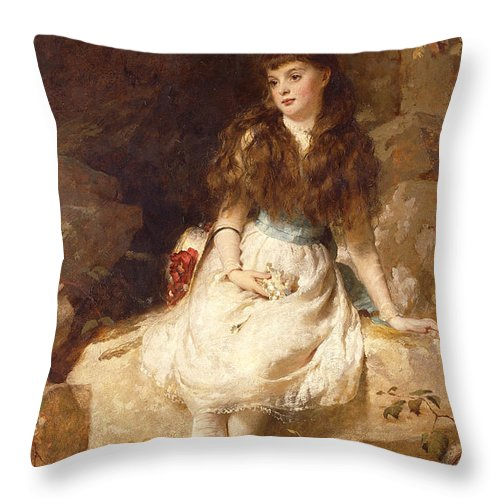 Aristocracy Throw Pillow featuring the painting Lady Edith Amelia Ward Daughter Of The First Earl Of Dudley by George Elgar Hicks